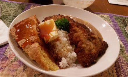 Pork Cutlets Sous Vide, Gravy, Cornbread, Rice