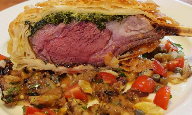 Sous Vide: Rack of Oregon Lamb Stuffed with Spinach and Feta; Edible Eggplant Relish Agrodolce; Phyllo Crust