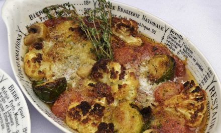 Winter Vegetable Casserole: Roasted Cauliflower, Brussels Sprouts, Hothouse Tomatoes…NON Sous Vide