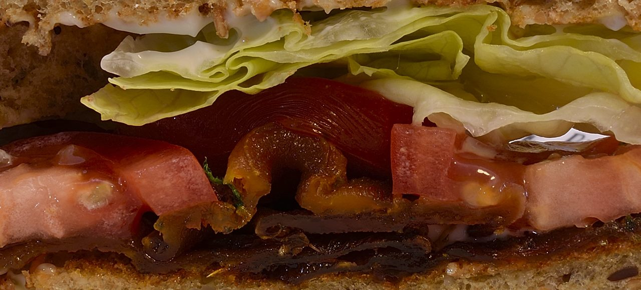 "Sous Vide: Butternut Squash ""Bacon,"" Lettuce and Tomato Sandwich"