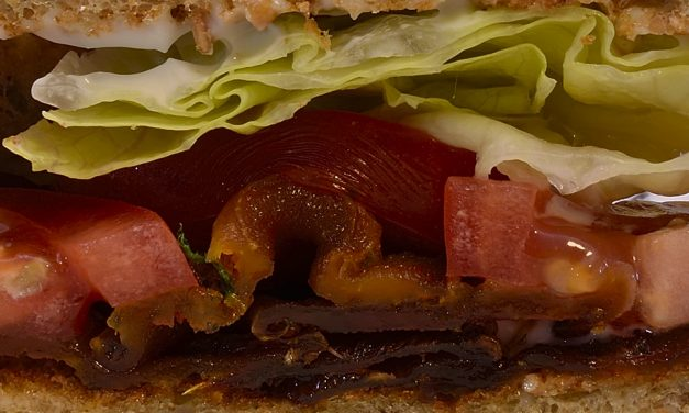 "Sous Vide: Butternut Squash ""Bacon,"" Lettuce and Tomato Sandwich"